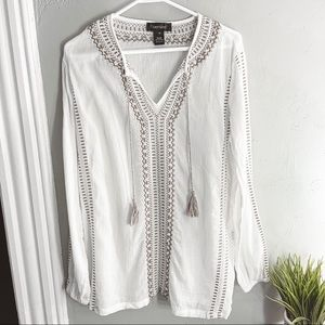 Karen Kane White Tan Embroidered Tunic Size M